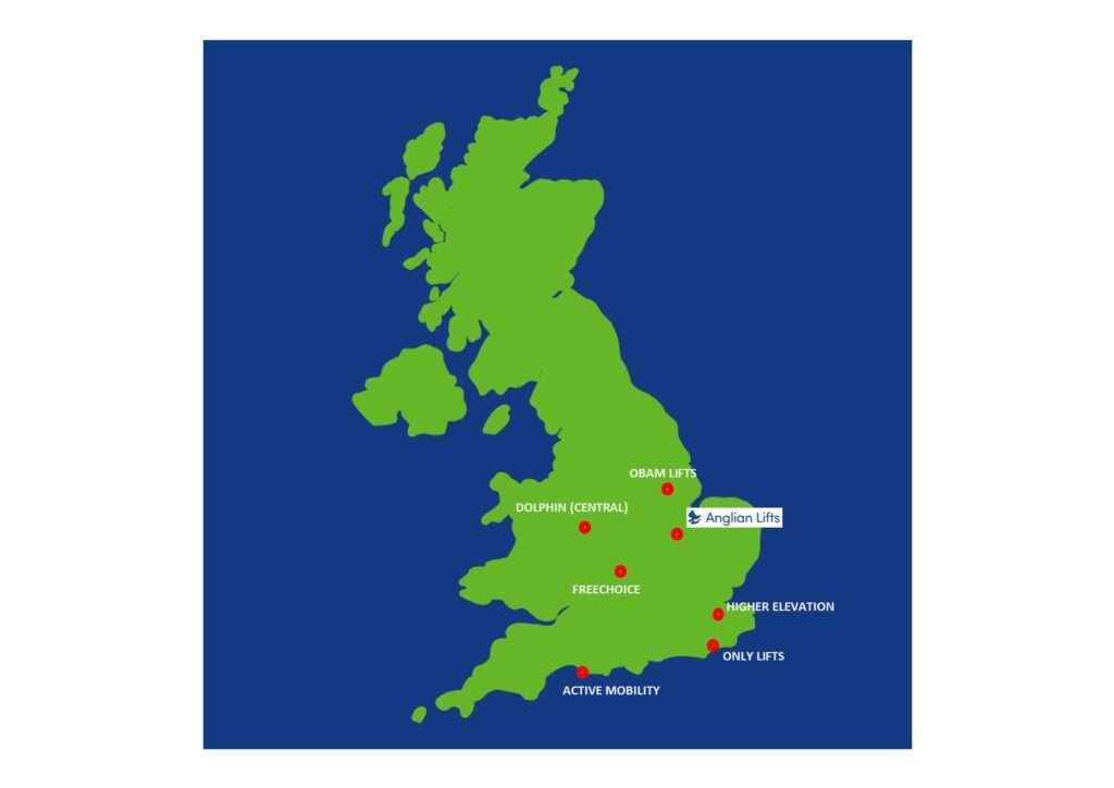 Anglian Lifts preferred partner locations map