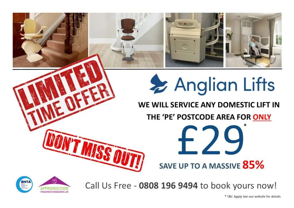 Stairlift Servicing Special Offer in Peterborough and PE postcodes